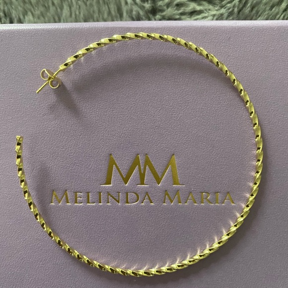 "Melinda Maria 3"" Twisted Hoops Gold New"